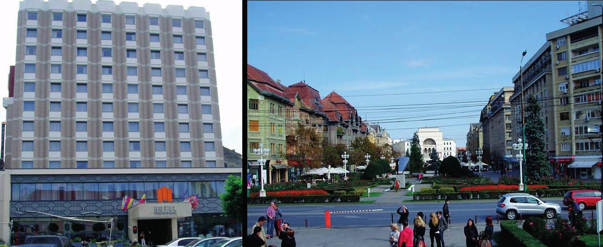 Hotel Timişoara v meste Timişoara (Rumunsko) (vľavo); Námestie Víťazstva v meste Timişoara (vpravo)