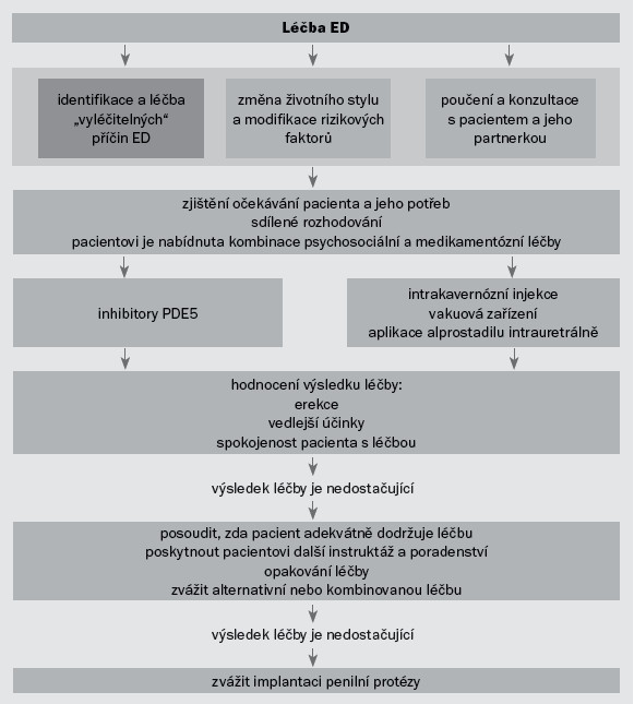 Schéma 3. Terapeutický algoritmus pro pacienty s ED.