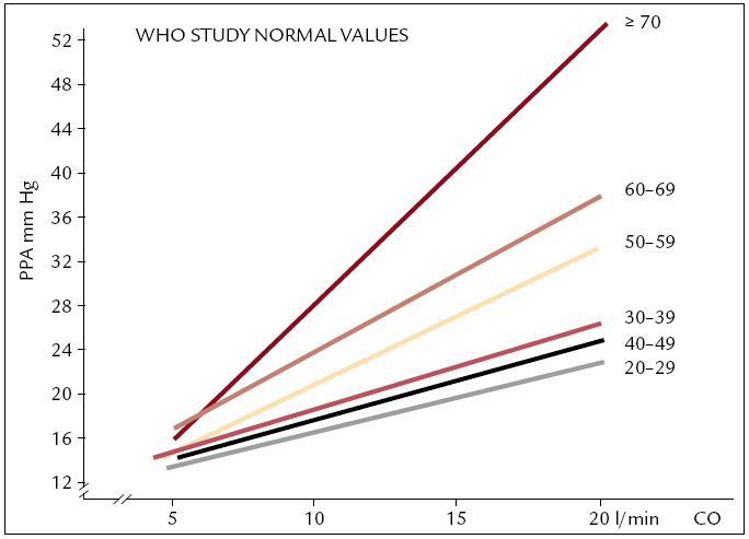 Střední tlak v plicnici při zátěži u zdravých osob v korelaci se zvýšením minutového výdeje srdečního v jednotlivých věkových dekádách – WHO studie [3].