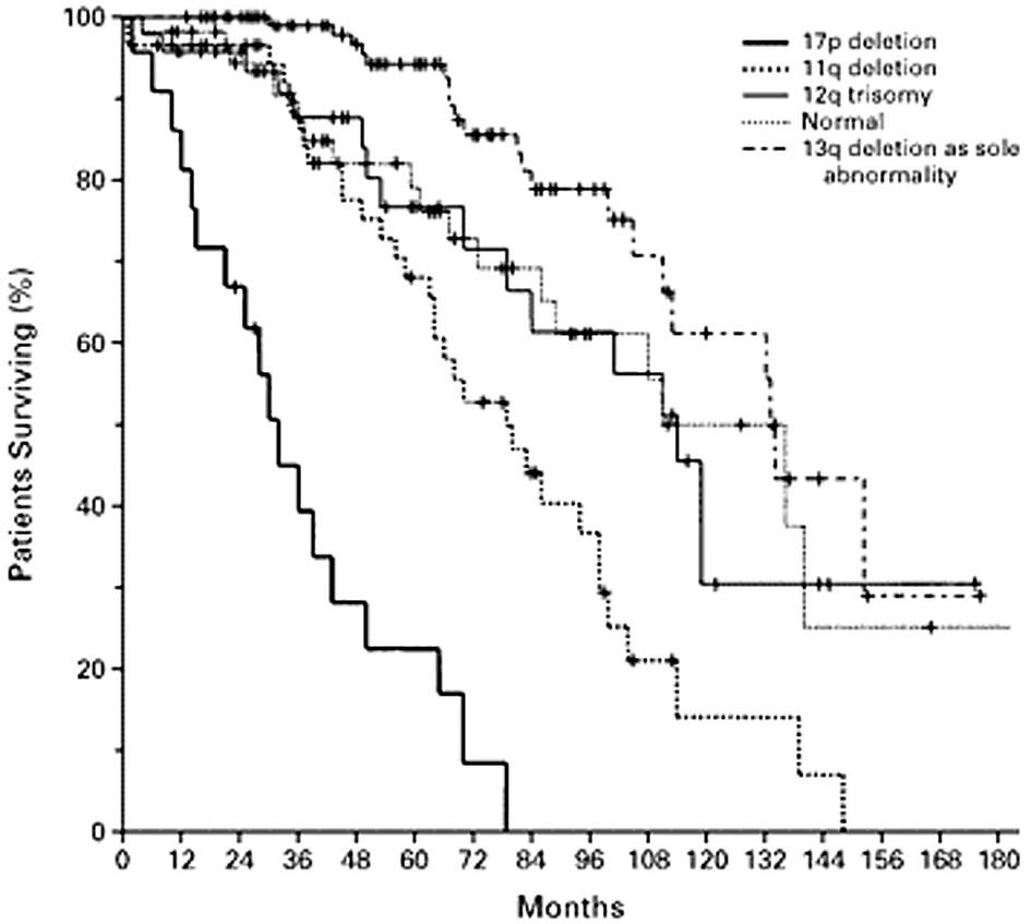 Pravděpodobnost přežití u nemocných s chronickou lymfatickou leukemií s různými cytogenetickými nálezy. Podle: Döhner et al., 2000 (9).
