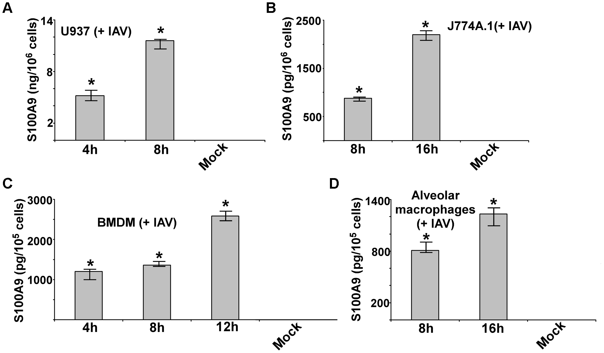 Production of S100A9 from IAV infected macrophages.
