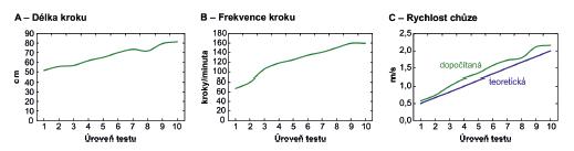 Změna délky kroku (A), frekvence kroku (B) a rychlosti chůze (C) během jednotlivých rychlostních úrovní ISWT testu u pacientky s funkční poruchou dýchání (test byl ukončen v 10. minutě) – záznam ze systému Footscan.