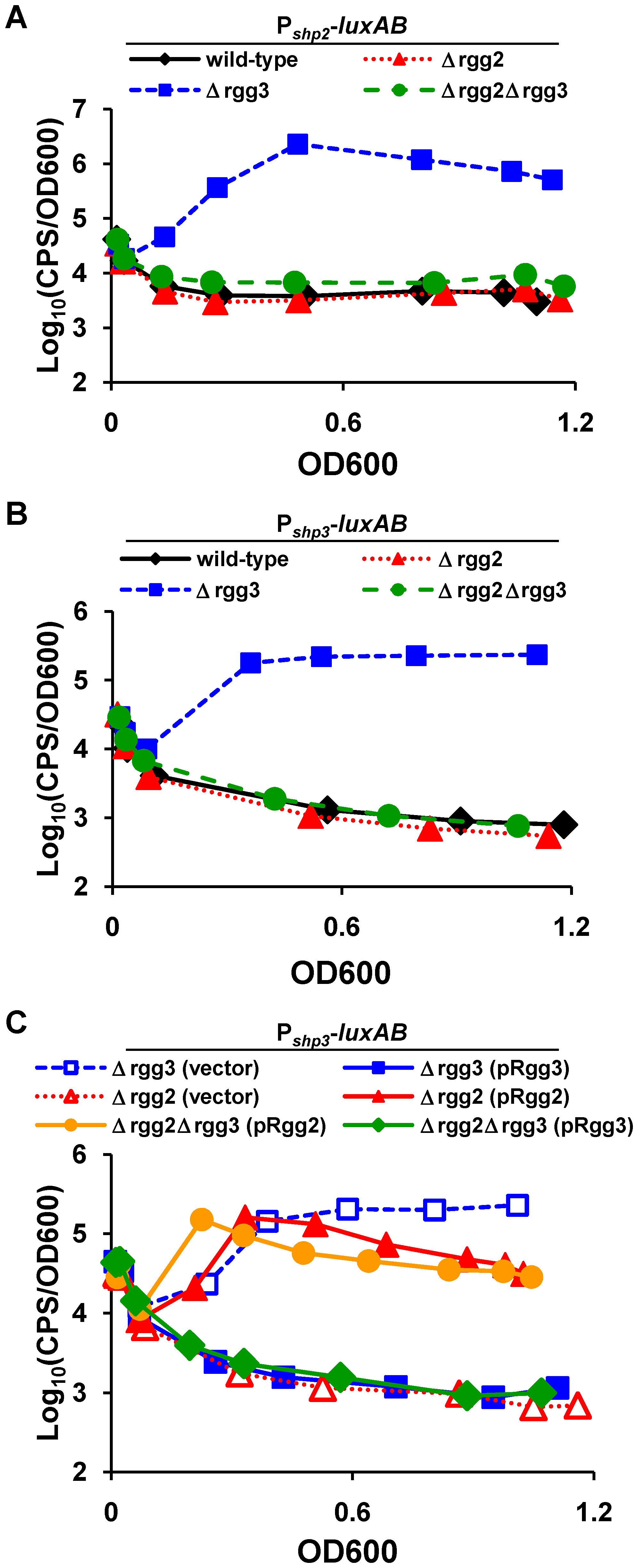 Gene regulation mediated by Rgg proteins.
