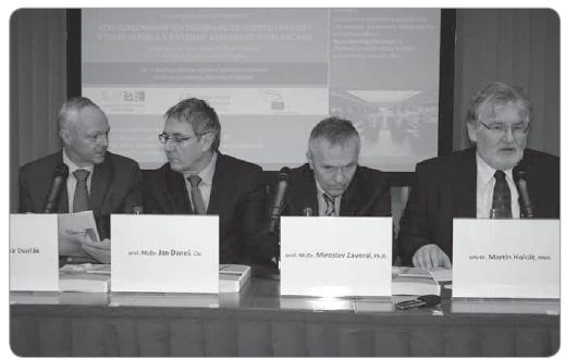 Fig. 3. Vladimír Dvořák, MD, Prof. Jan Daneš, MD, Ph.D., Prof. Miroslav Zavoral, MD, Ph.D. (guarantors of three Czech cancer screening programmes) and Martin Holcát, MD, MBA (Czech Minister of Health).