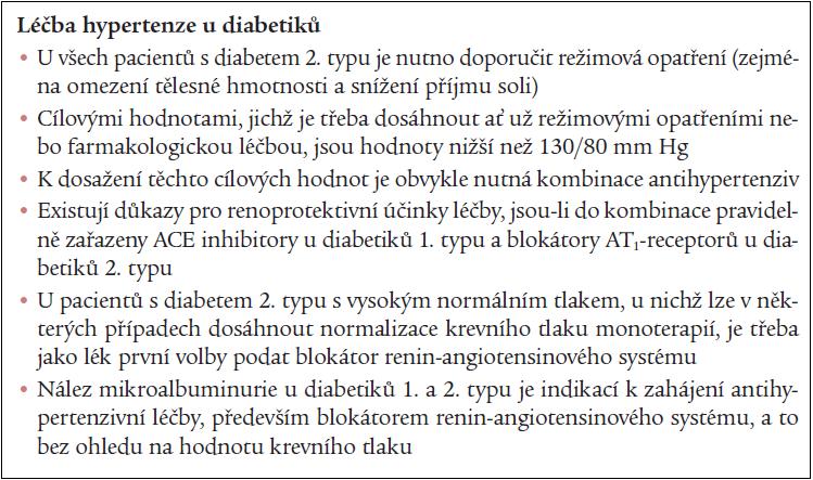 Doporučení České společnosti pro hypertenzi 2004 pro léčbu hypertenze u nemocných s diabetem [26].
