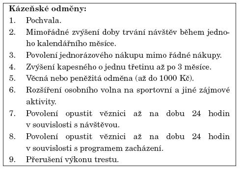 Hierarchický přehled odměn dle Zák. č. 169/1999 Sb.
