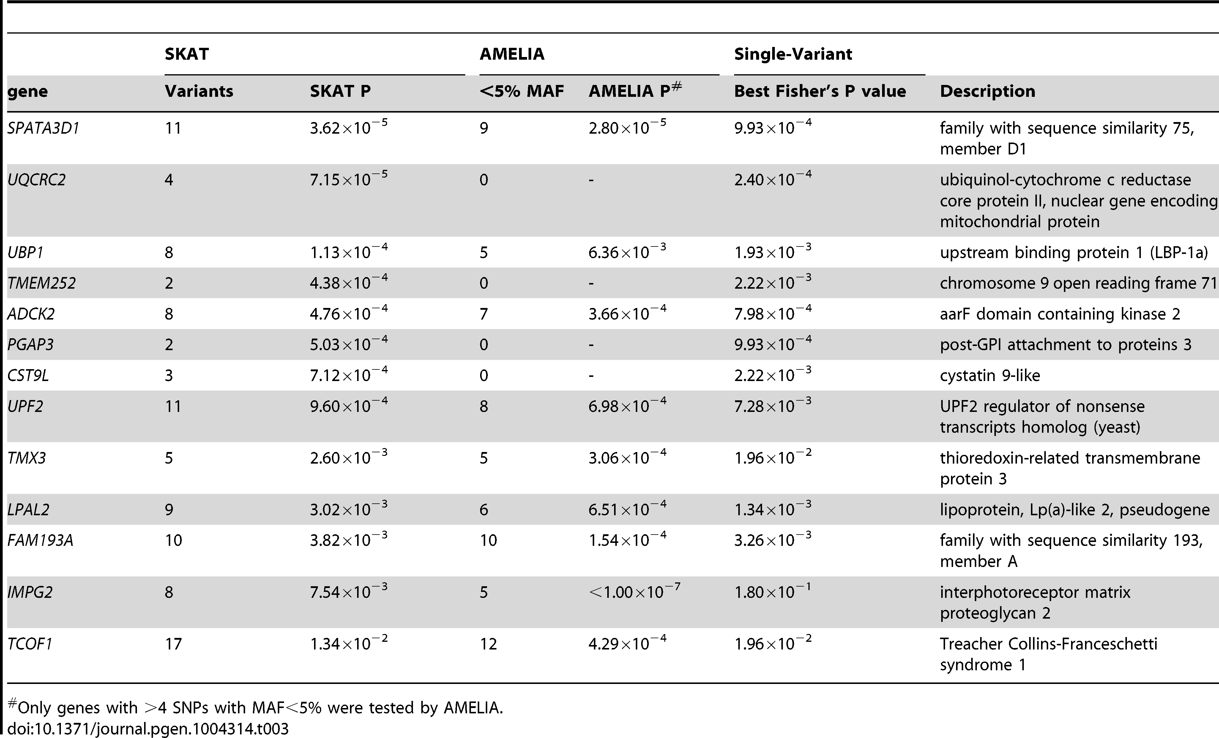 SKAT and AMELIA analysis results using primary controls, ranked by SKAT P value.