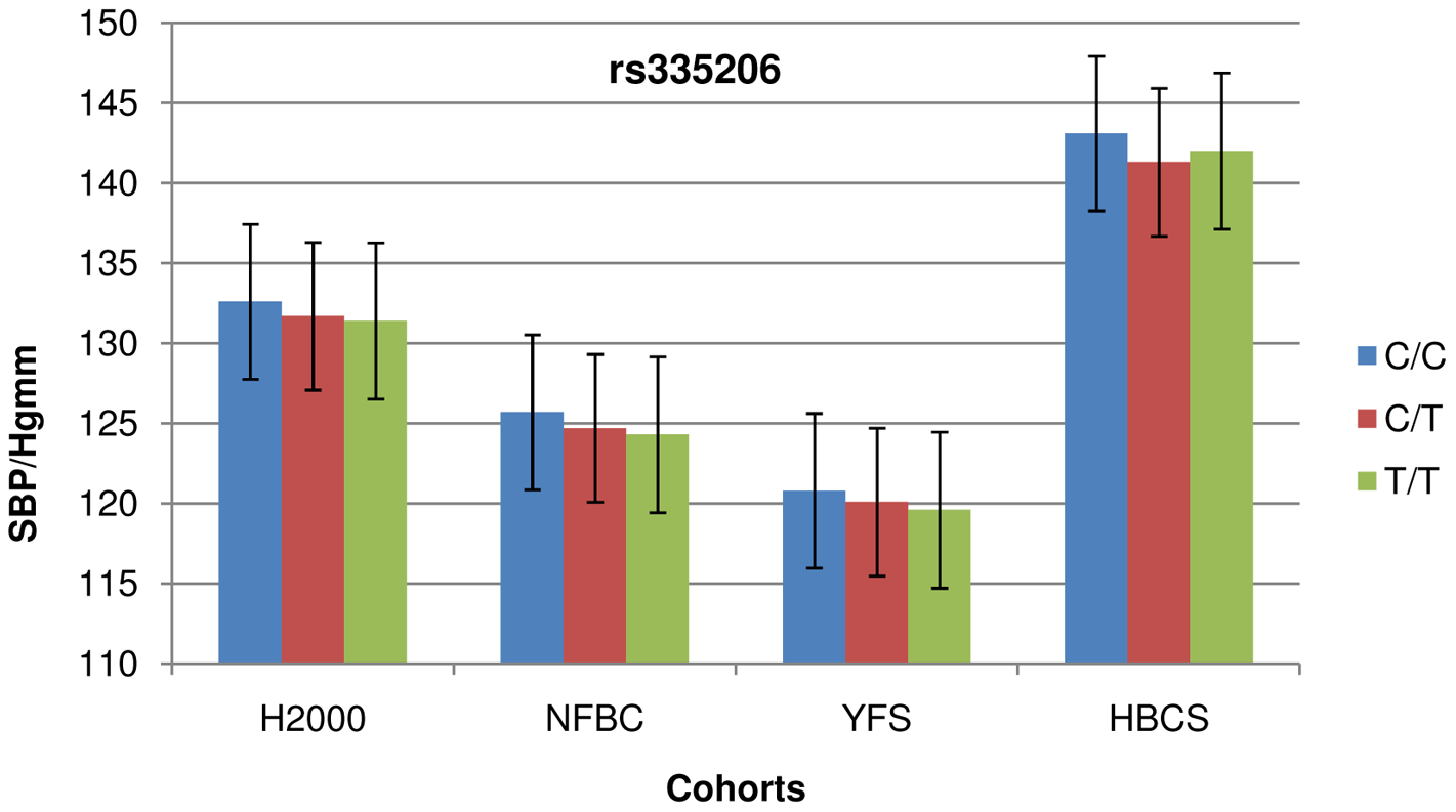 Cohort-wise effects of risk allele count on SBP.