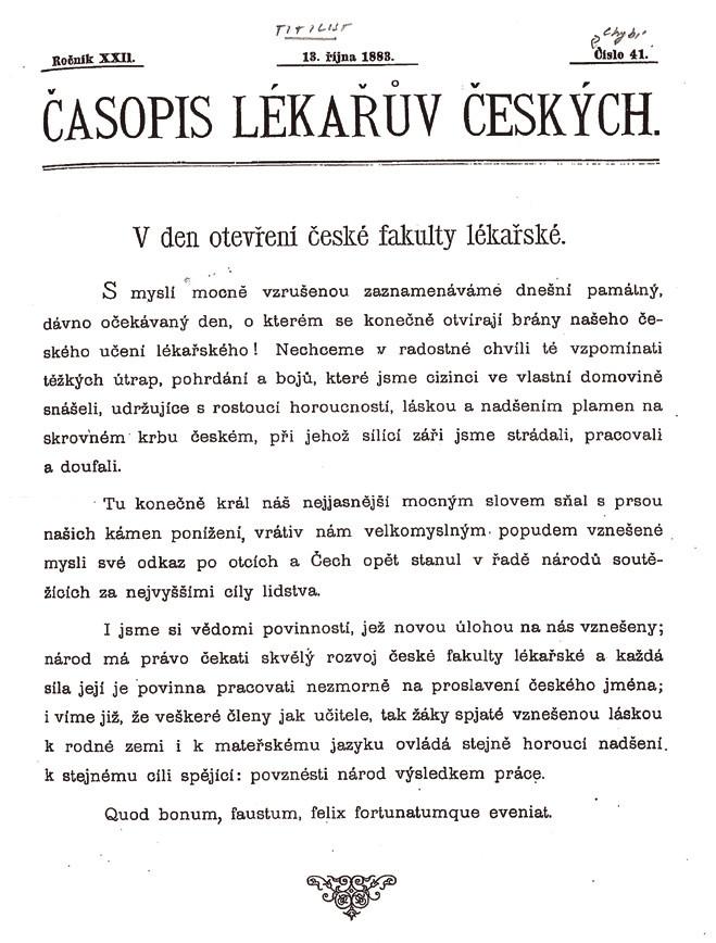 Titulní strana ČLČ s oznámením o zahájení výuky na české lékařské fakultě