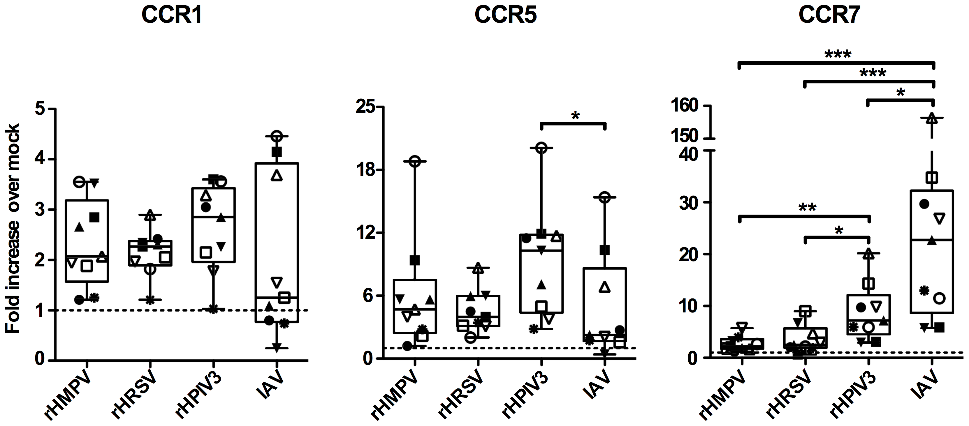 CCR1, 5 and 7 gene expression of MDDC stimulated with rHMPV, rHRSV, rHPIV3, or IAV.
