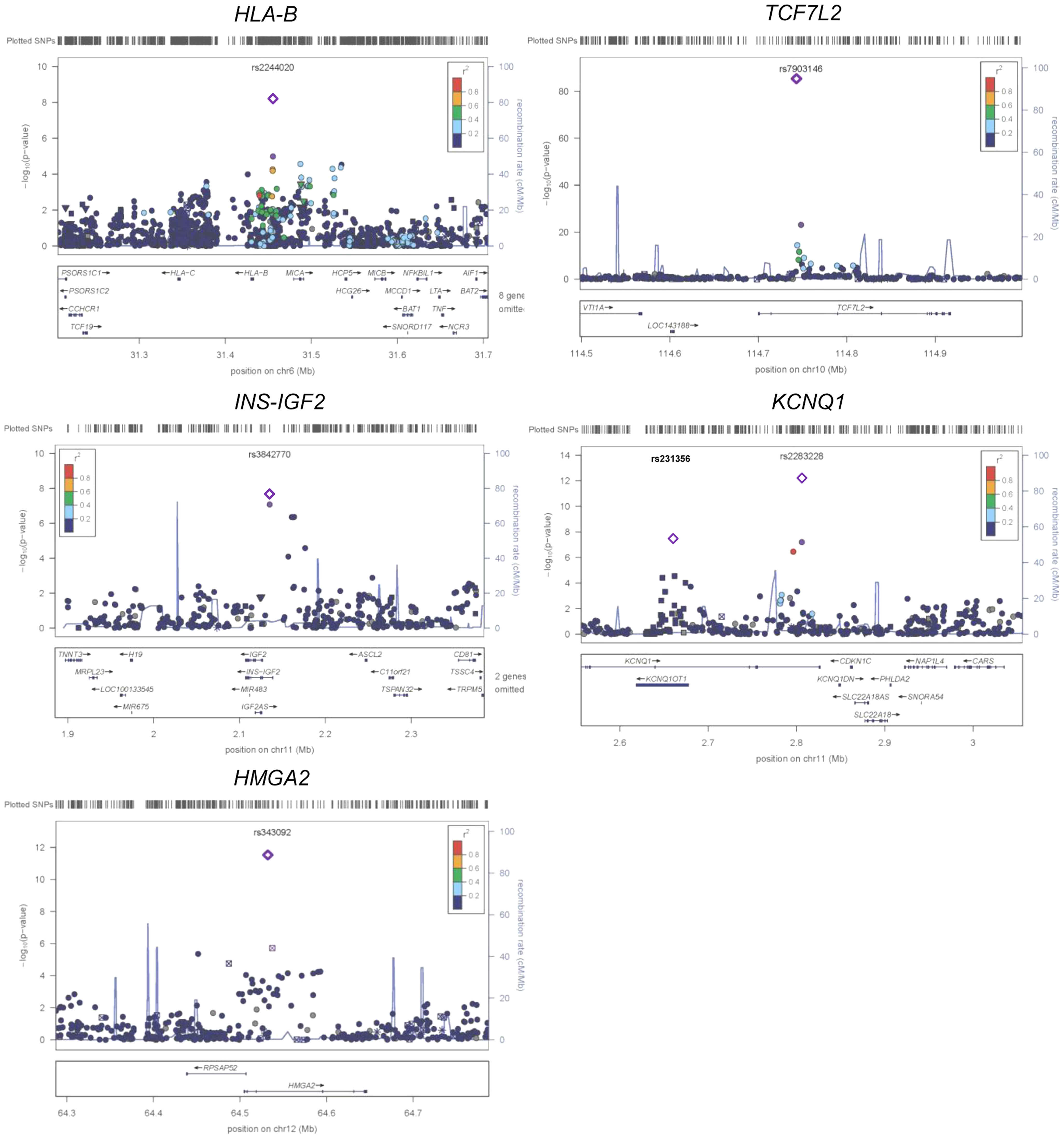 Regional plots of five previously and newly identified T2D loci in African Americans.