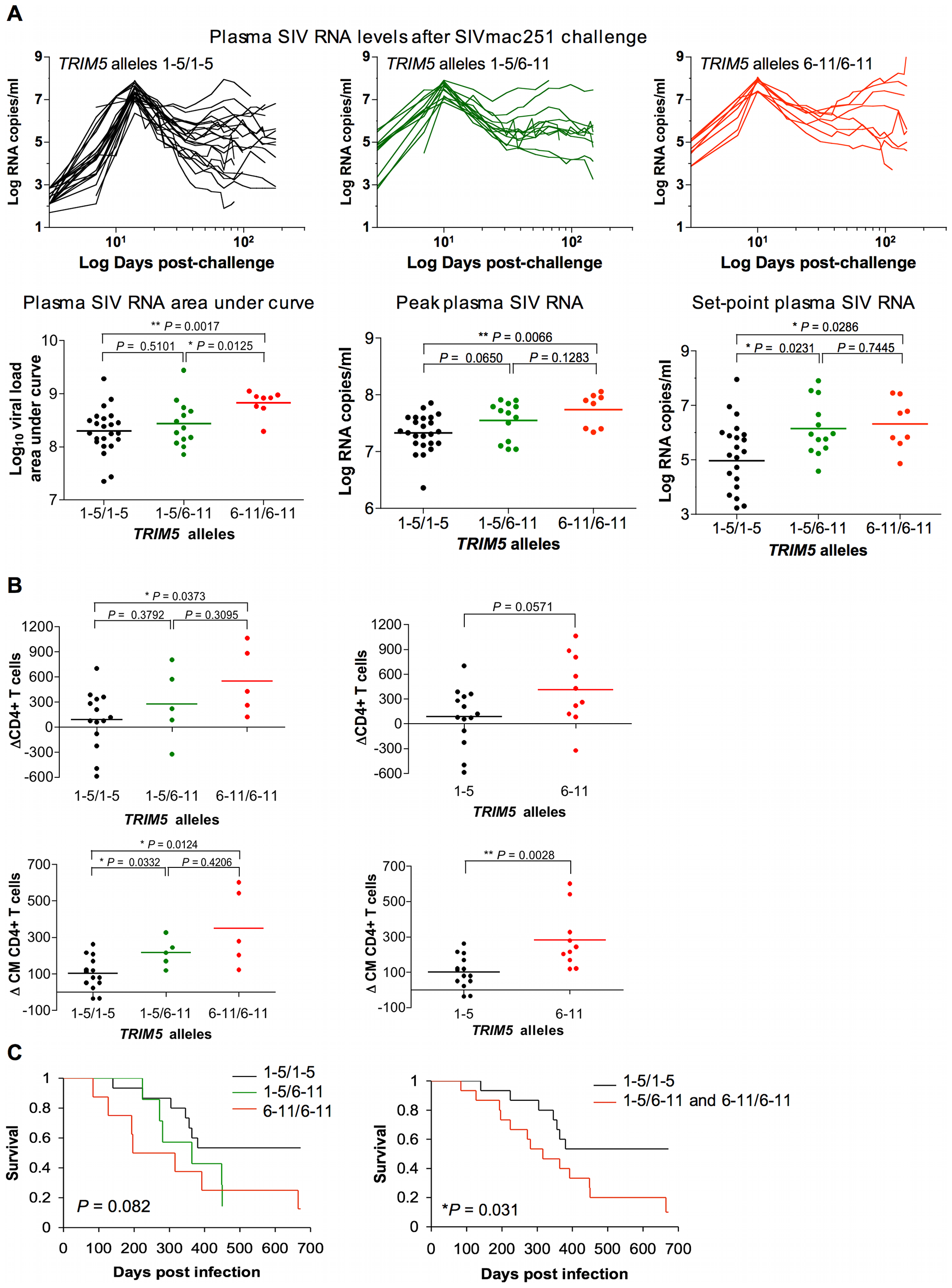 Association of the expression of groups of <i>TRIM5</i> alleles by rhesus monkeys with viral replication following SIVmac251 infection.