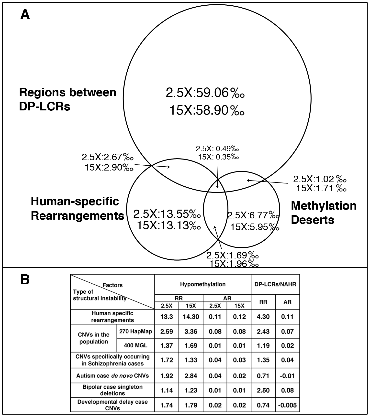 Statistical risk analysis of structural mutability due to hypomethylation and DP–LCRs.