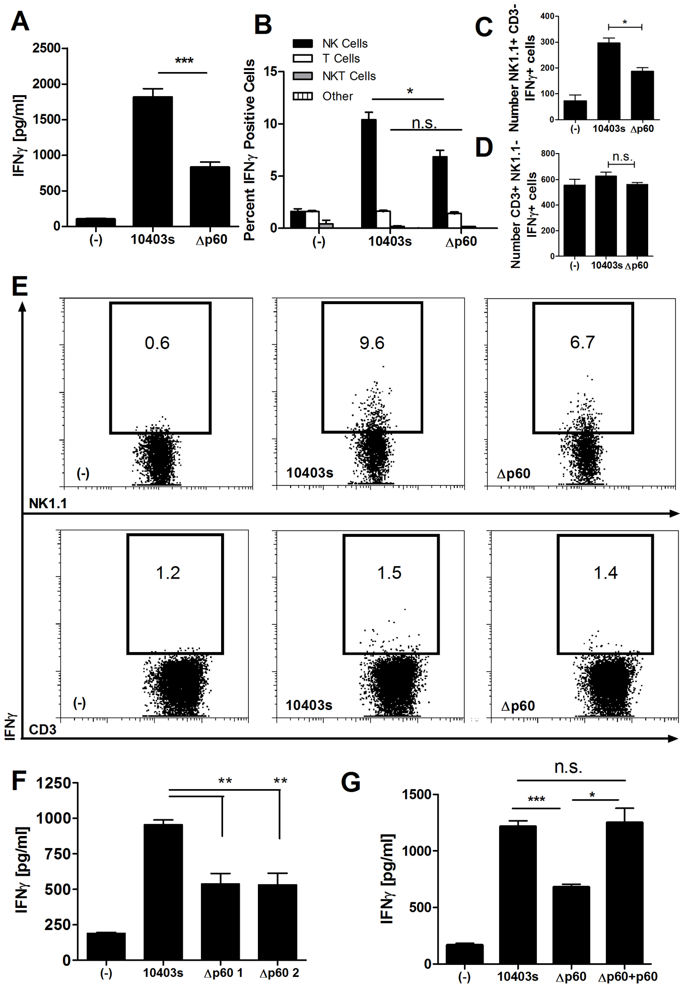A secreted bacterial protein enhances activation of naïve mouse NK cells by <i>L. monocytogenes-</i>infected DCs.