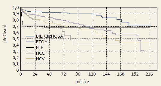 Přežívání příjemců podle hlavních indikačních skupin v programu transplantace jater IKEM, 1995–13. 8. 2013, n = 1 000, metoda Kaplan-Meier. Graph 3. Patient survival in main diagnostic groups in liver transplant program in IKEM, 1995–Aug 13, 2013, n = 1 000, Kaplan-Meier method.