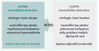 Schéma 1. Odlišnosti mezi astmatem a CHOPN.