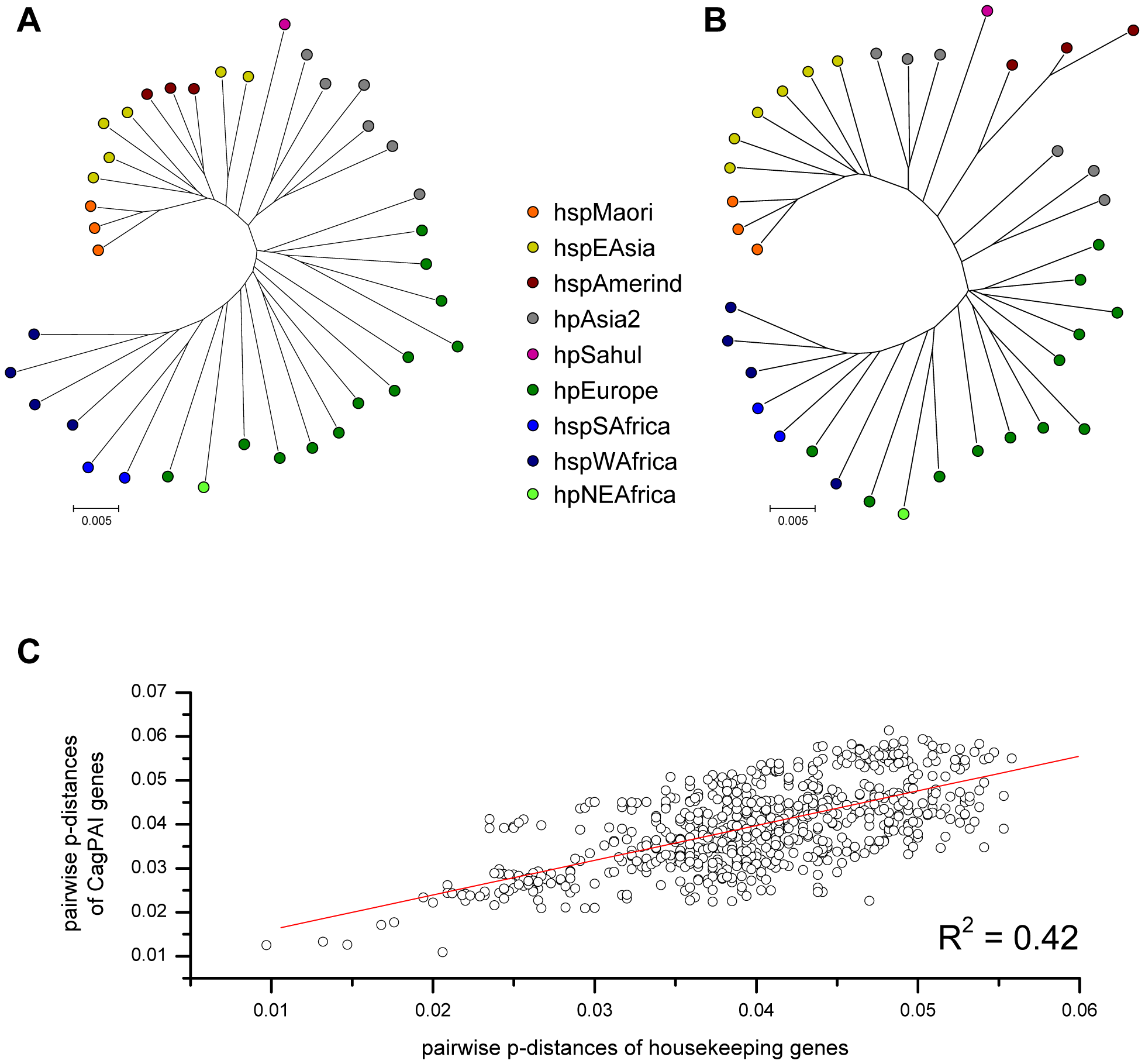 Pairwise correlation of genetic distances and phylogeographic diversity between <i>H. pylori</i> housekeeping genes and concatenated <i>cag</i>PAI genes.