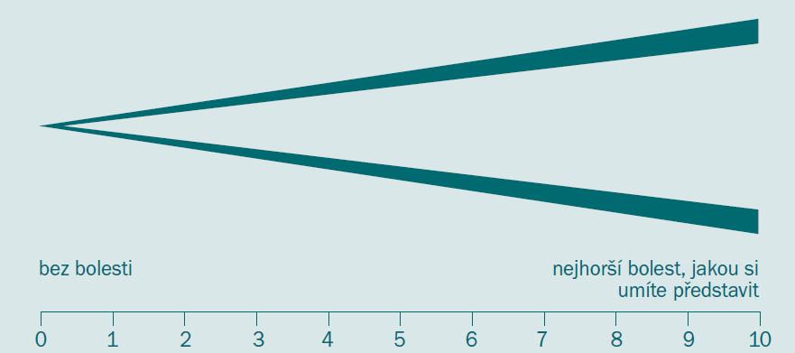 Vizuální analogová škála (nahoře) a numerická škála (dole).