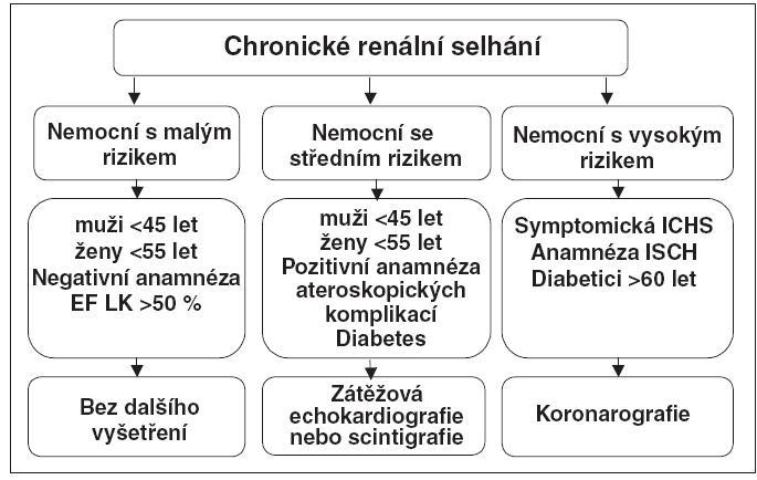 Schéma kardiologického vyšetřování před zařazením do čekací listiny k transplantaci ledviny – stratifikace podle rizika
