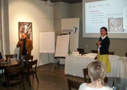 Obr. 4. MUDr. Kateřina Kubáčková (Kopečková) a MUDr. Pavel Dušek prezentují výsledky workshopů (Praha, 2. 3. 2016) Fig. 4. Kateřina Kubáčková (Kopečková), M.D. and Pavel Dušek, M.D. presenting workshop outcomes (Prague, 2 February 2016)