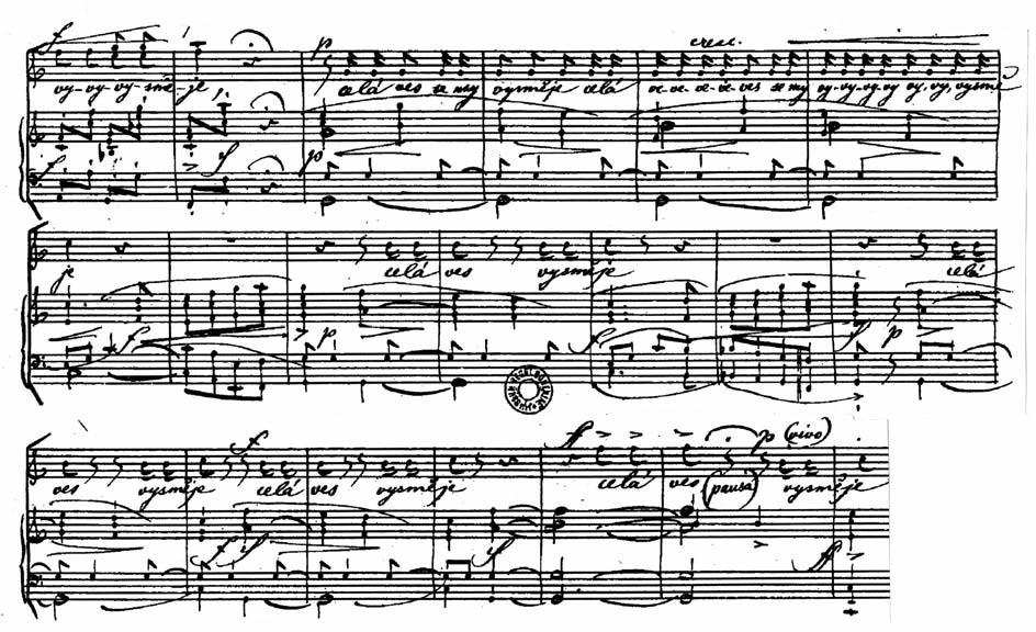 """Dva těžké tonoklony podmalované Vaškovou """"vnitřní řečí"""" ve zpěvném doprovodu orchestru a závěrečné mnohotné uvolněné opakování (podrobný popis v textu)."""