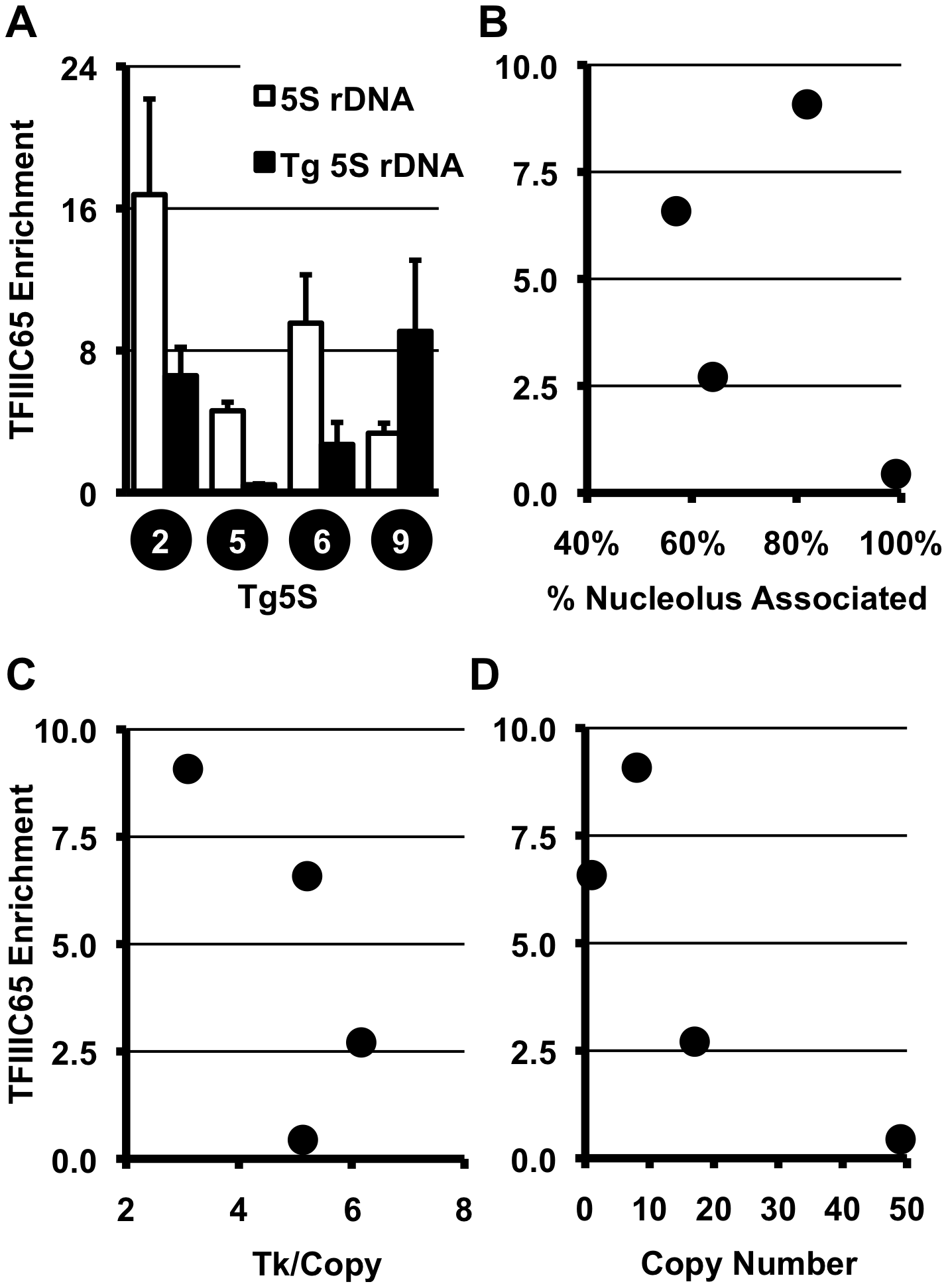 TFIIIC complex association and histone modifications at 5S rDNA transgenes.