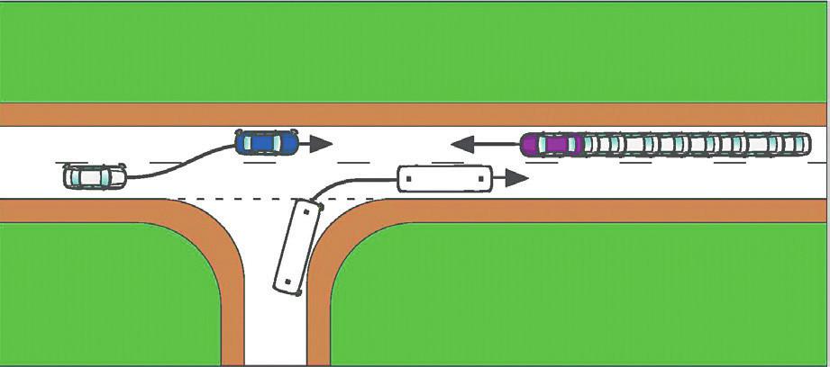 Vývoj situace, kdyby řidič fialového OA začal brzdit v reakční době přijatelného rozsahu (viz tab. 3)