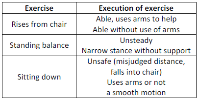Selected exercises from Tinneti balance assessment tool [12].