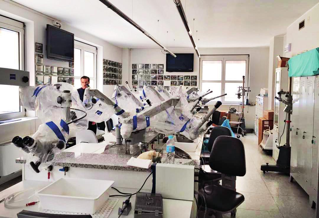 Houseova disekční laboratoř na klinice Gruppo Otologico.