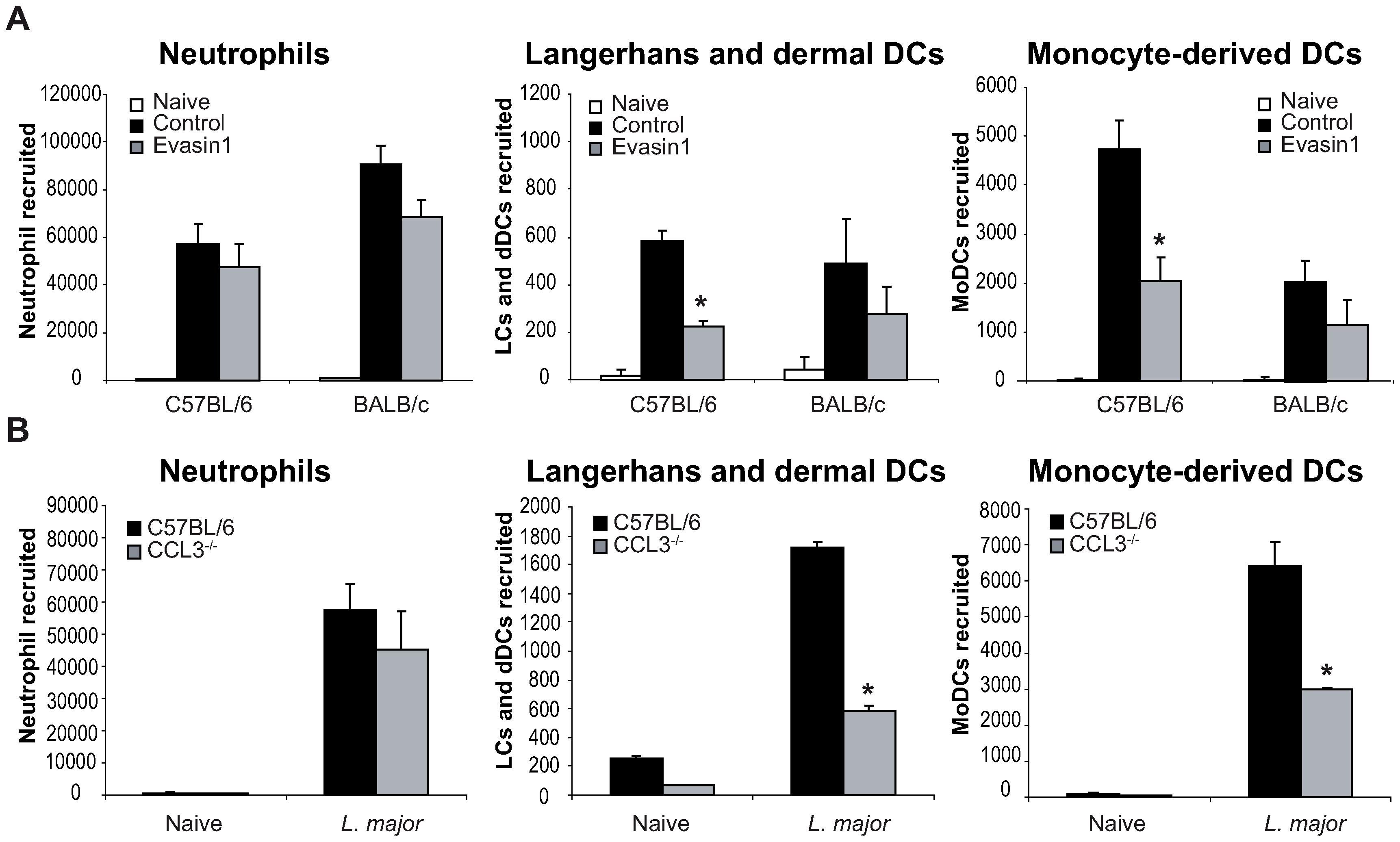 CCL3 is essential for early DC trafficking/recruitment to the site of infection following <i>L. major</i> inoculation.
