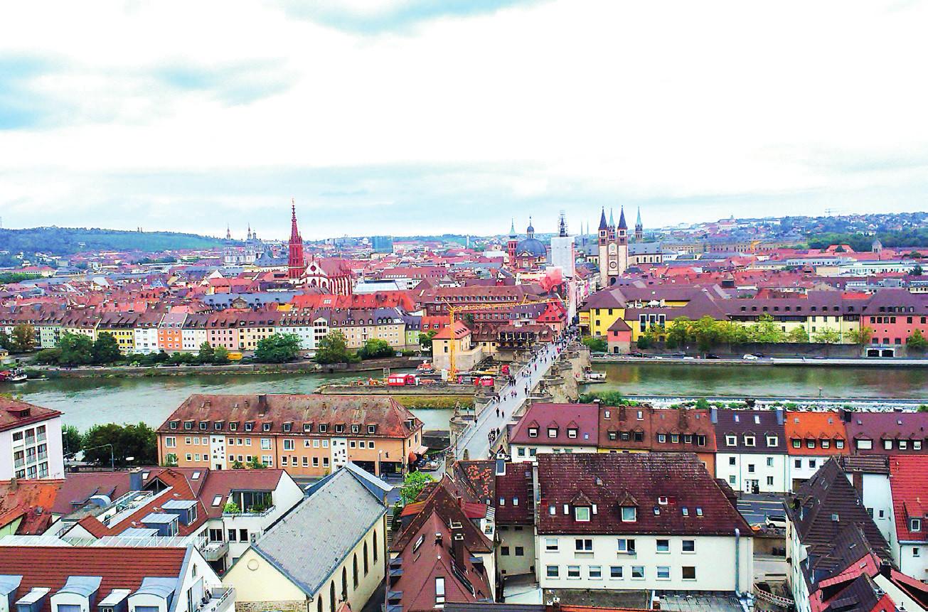 Pohled na město Würzburg.