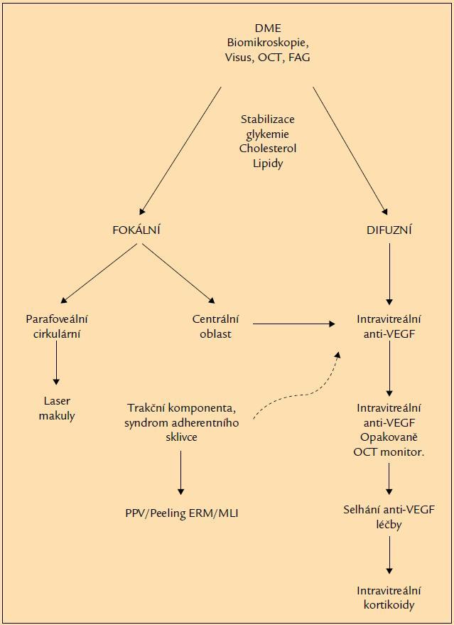 Algoritmus léčby DME.