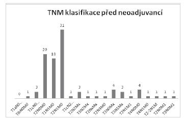 TNM klasifikace před neoadjuvantní léčbou Graph 3: TNM classification prior to neoadjuvant therapy