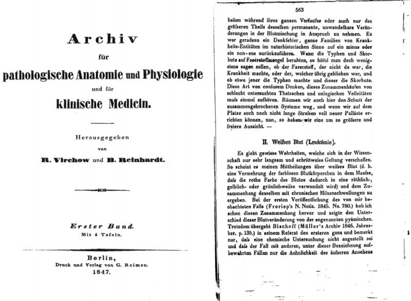 Publikace, ve které byl poprvé použit termín leukémie
