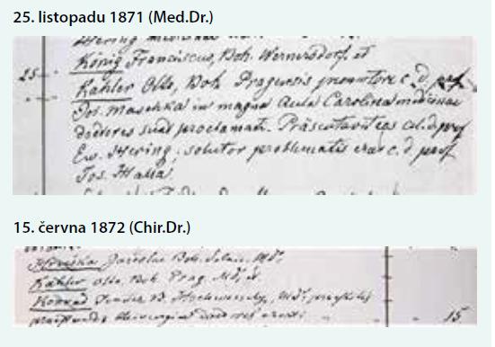 Zápisy doktorských promocí Otto Kahlera na Karlo-Ferdinandově univerzitě v Praze