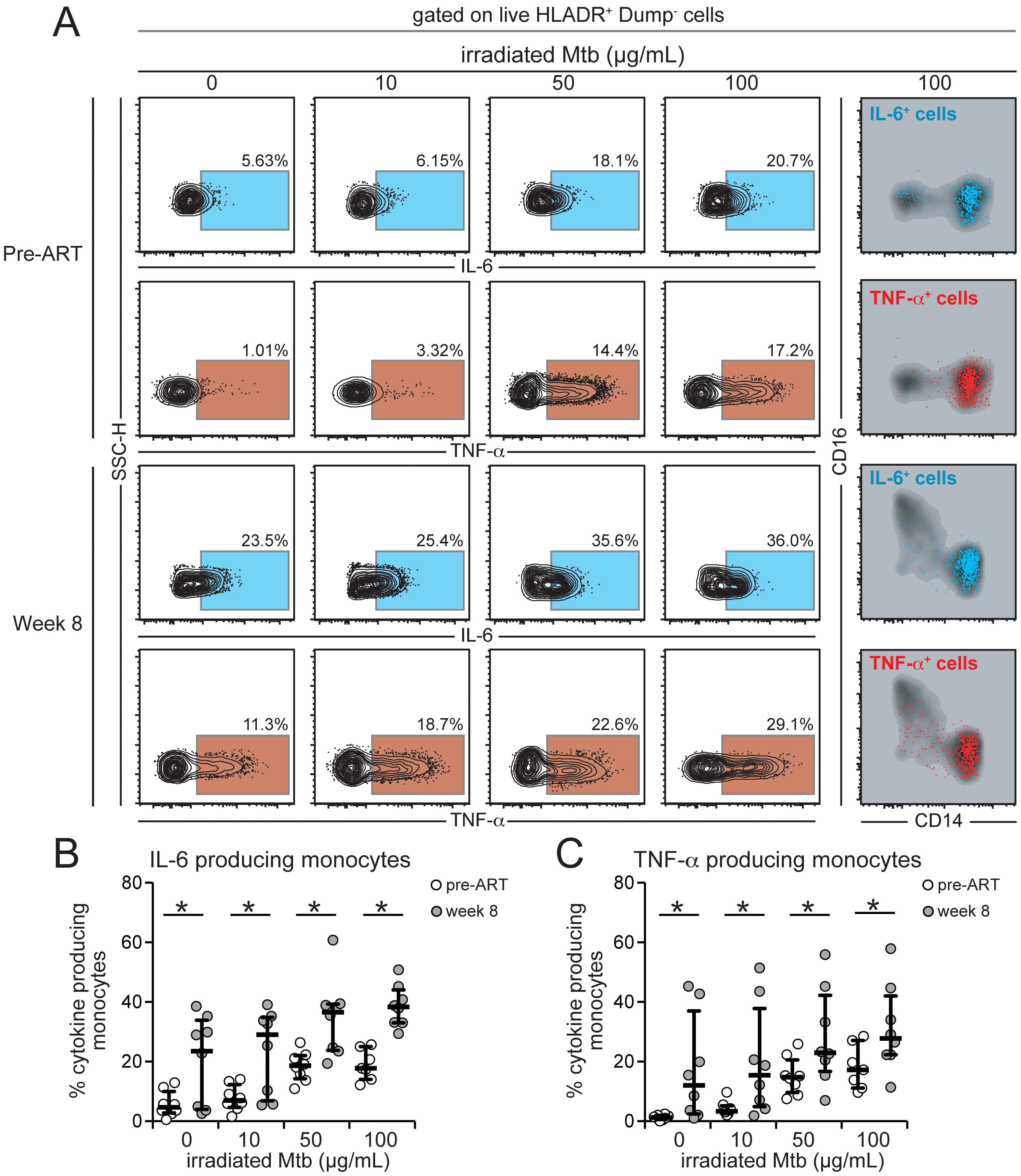 Intracellular production of IL-6 and TNF-α by monocytes from HIV+ patients is affected by HIV plasma viremia and mycobacterial antigen load.