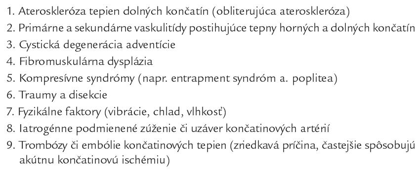 Etiologická klasifikácia chronického PAO.