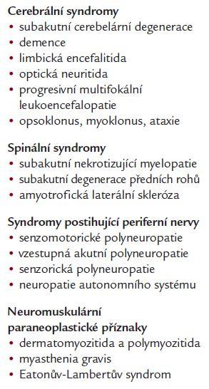 Spektrum paraneoplastických projevů (Hiller, 2000).