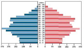 Věková pyramida (rozdělení podle věku a pohlaví v tisících) české společnosti, stav  v roce 2012