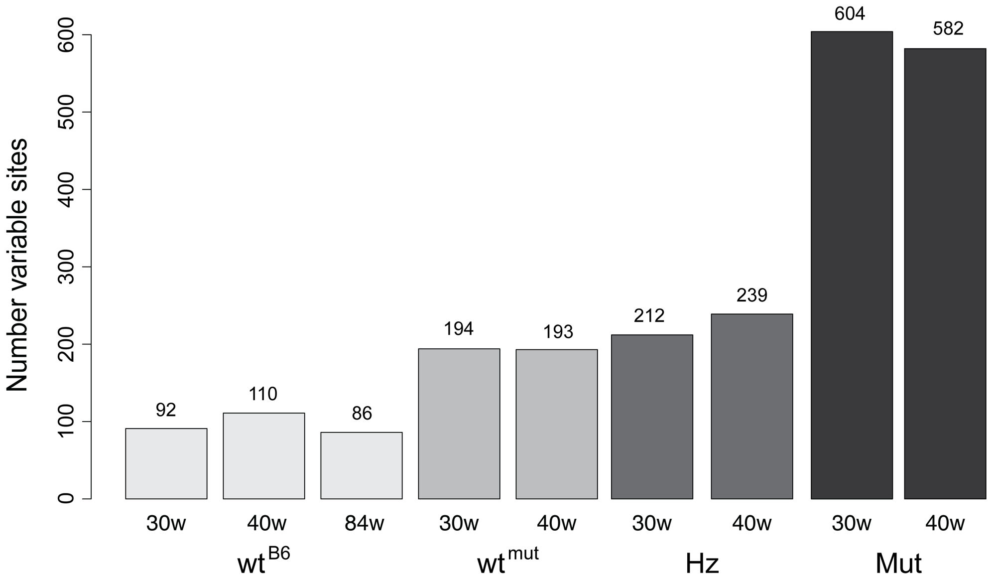 Number of mutations with a frequency of at least 0.5% in each sample.