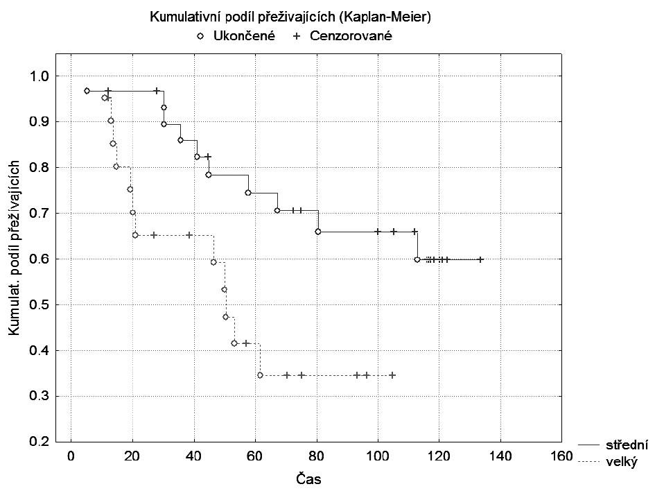 Graf 1b. Kaplan-Meierova křivka: Velikost tumoru HP: střední vs. velký