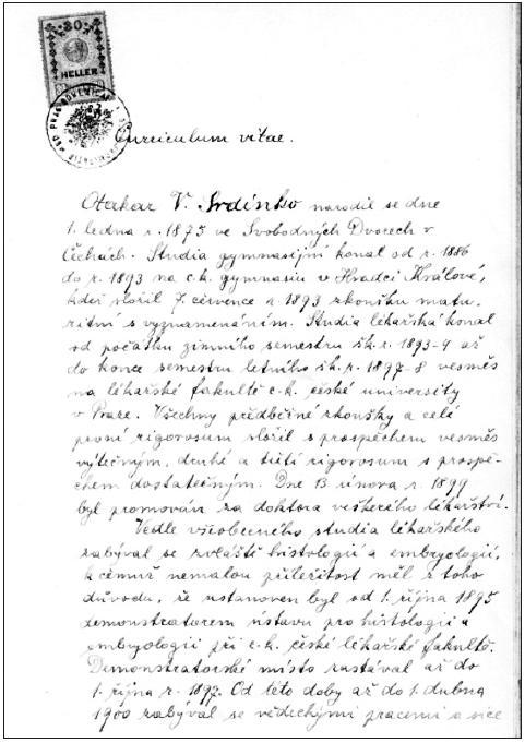 """Srdínkův rukopis jeho životopisu podaný jako součást žádosti o """"venium docendi"""""""