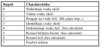 Klasifikace sluchové percepce dle Nottinghamské stupnice.