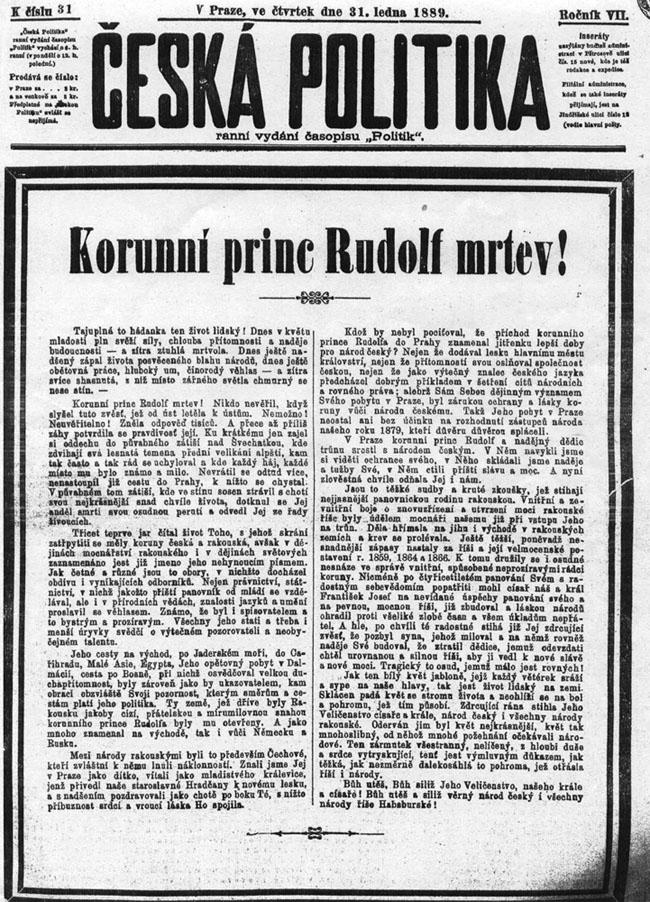 Česká Politika, titulní strana z 31. ledna 1889.