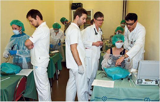 Lékaři při praktickém nácviku práce s endoskopickými endonazálními instrumenty.