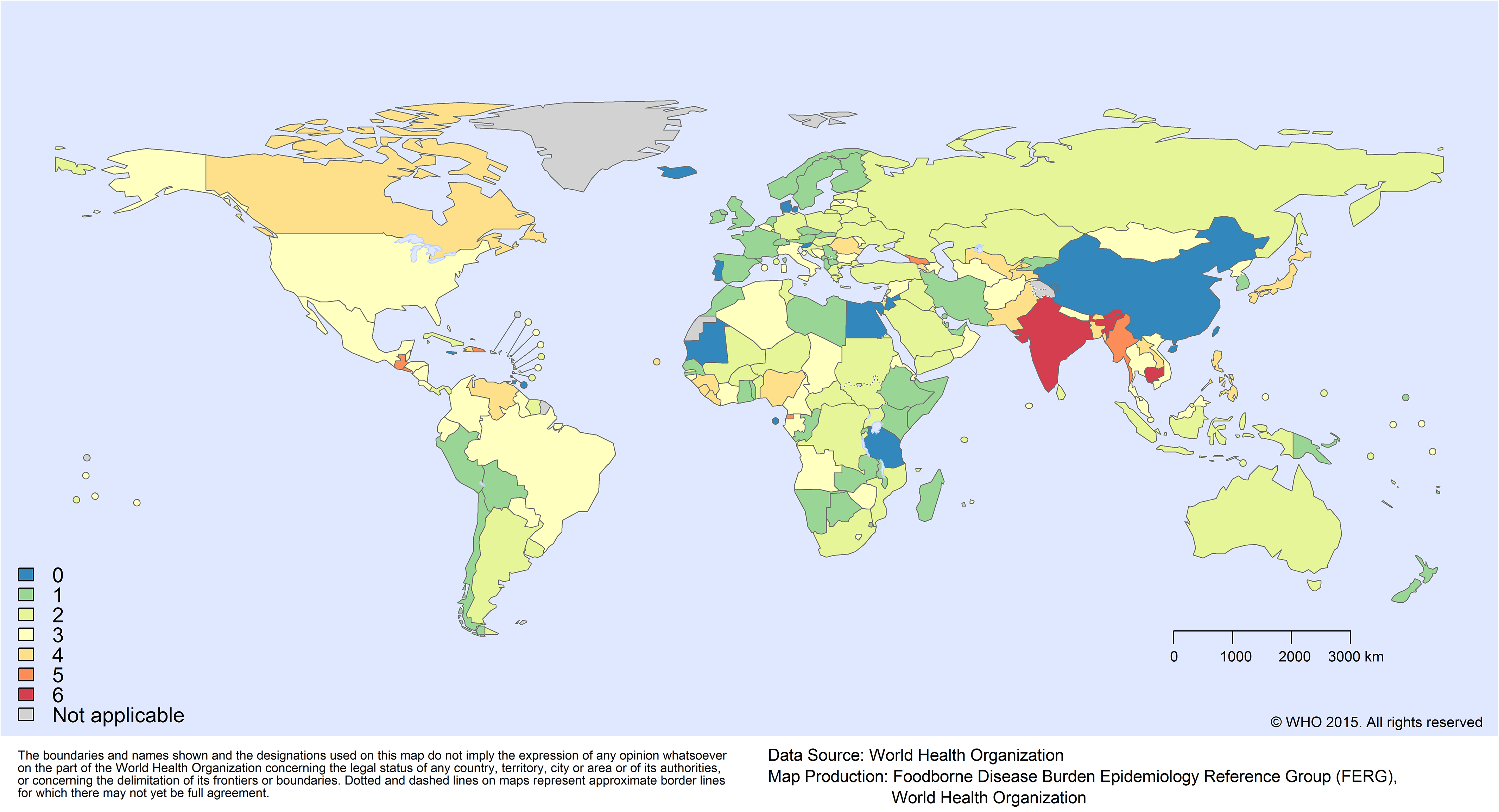 Missing data by country: number of hazards for which no data were available.