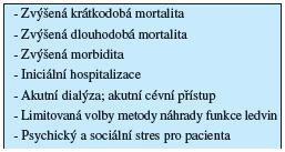 """Důsledky pozdního odeslání (""""late referral"""") k nefrologickému sledování"""