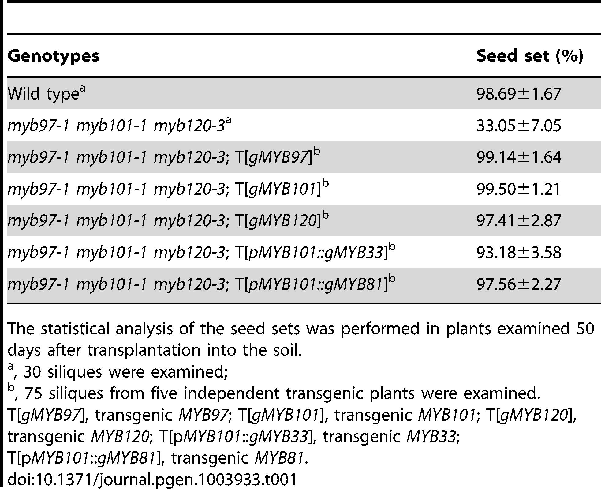 Complementation analysis of <i>myb97-1 myb101-1 myb120-3</i> triple homozygous mutant.