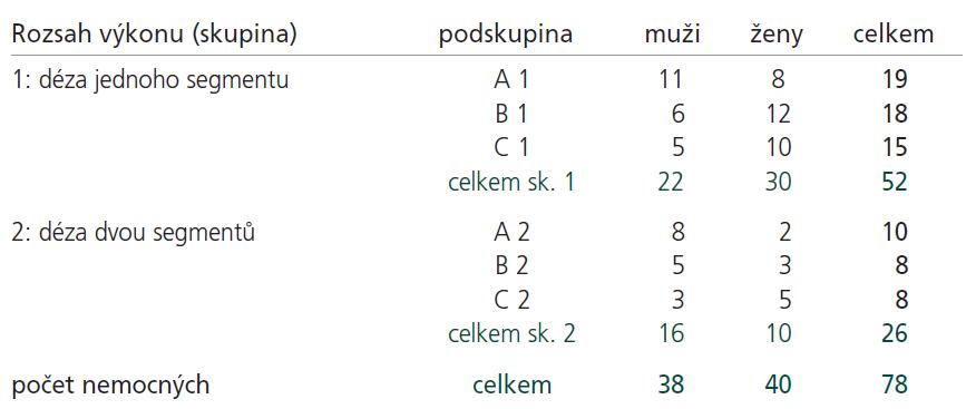 Rozdělení nemocných do skupin a podskupin podle rozsahu a typu výkonu a podle pohlaví.