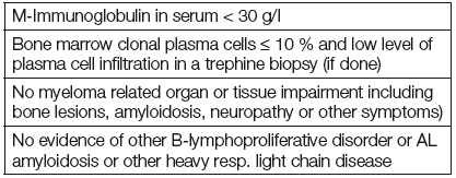 New diagnostic criteria for MGUS prepared by IMWG, 2003 [8].